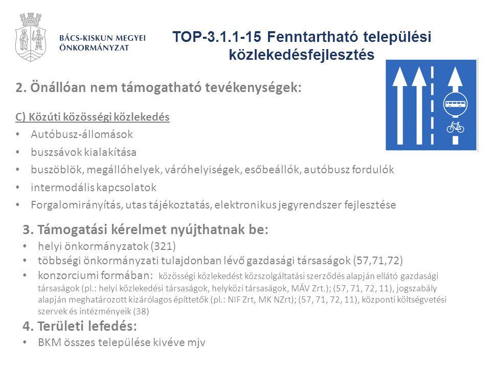 TOP-3.1.1-15 Fenntartható települési közlekedésfejlesztés 2. Önállóan nem támogatható tevékenységek: C) Közúti közösségi közlekedés Autóbusz-állomások