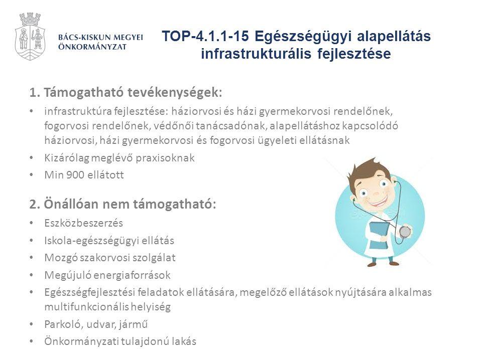 TOP-4.1.1-15 Egészségügyi alapellátás infrastrukturális fejlesztése 1. Támogatható tevékenységek: infrastruktúra fejlesztése: háziorvosi és házi gyerm