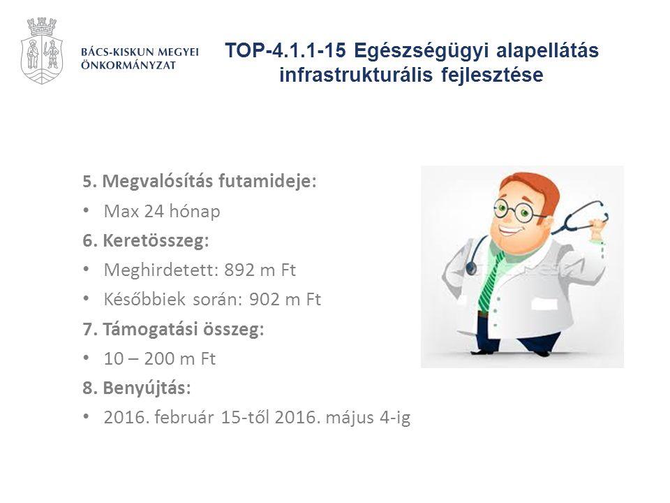 TOP-4.1.1-15 Egészségügyi alapellátás infrastrukturális fejlesztése 5. Megvalósítás futamideje: Max 24 hónap 6. Keretösszeg: Meghirdetett: 892 m Ft Ké