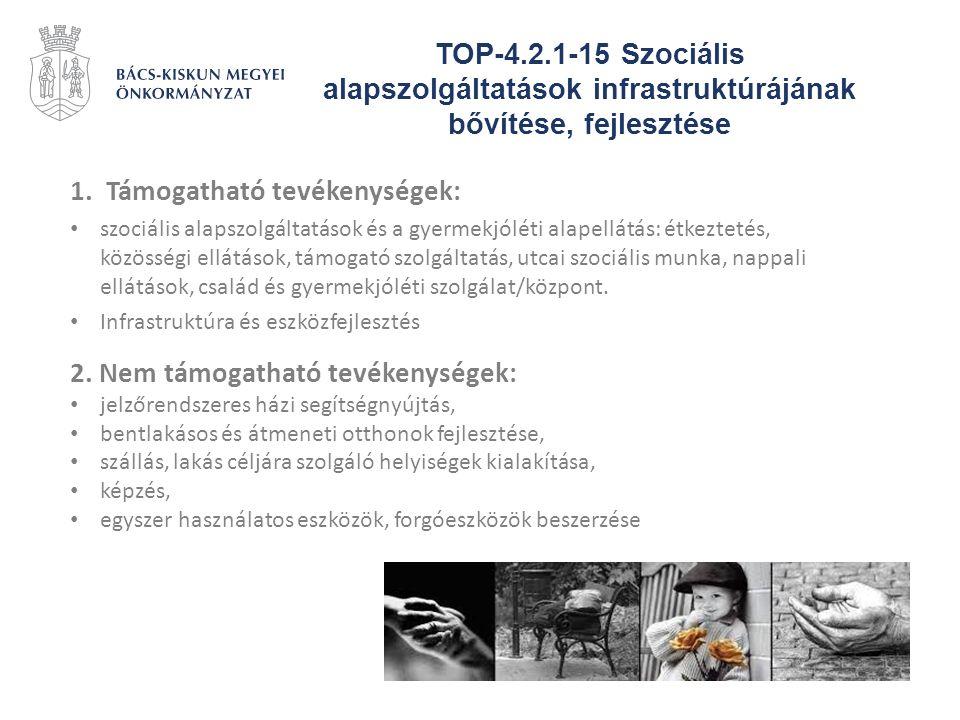 TOP-4.2.1-15 Szociális alapszolgáltatások infrastruktúrájának bővítése, fejlesztése 1.Támogatható tevékenységek: szociális alapszolgáltatások és a gye