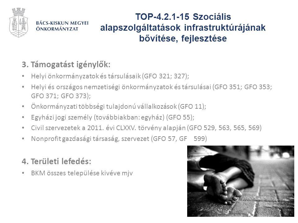 TOP-4.2.1-15 Szociális alapszolgáltatások infrastruktúrájának bővítése, fejlesztése 3. Támogatást igénylők: Helyi önkormányzatok és társulásaik (GFO 3