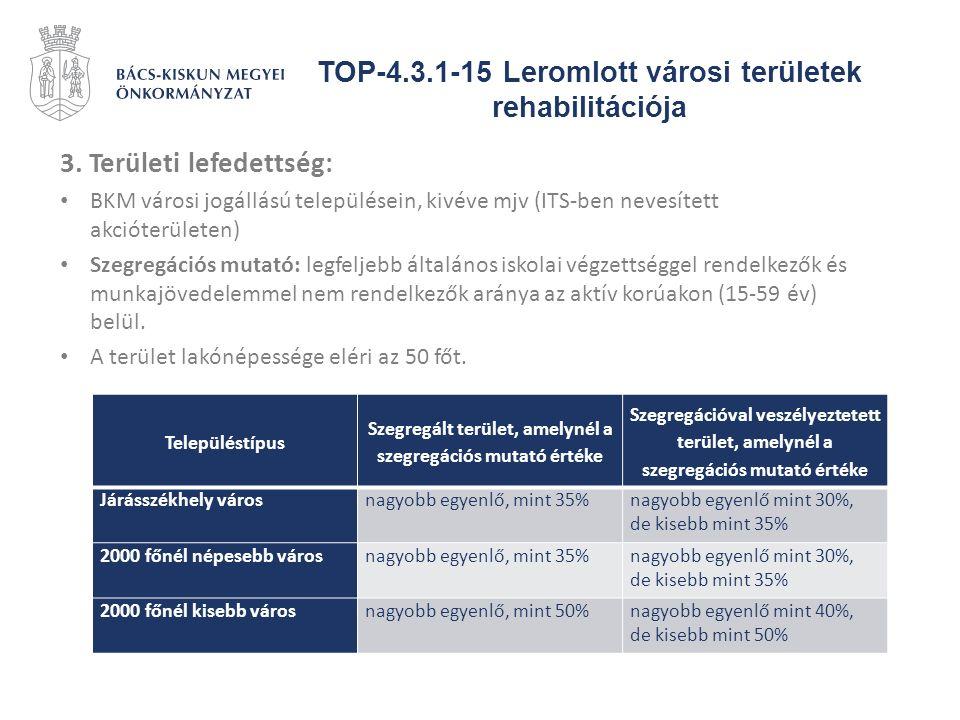 TOP-4.3.1-15 Leromlott városi területek rehabilitációja 3. Területi lefedettség: BKM városi jogállású településein, kivéve mjv (ITS-ben nevesített akc