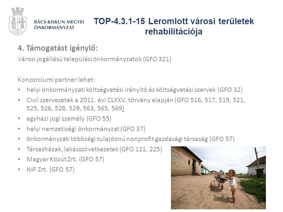 TOP-4.3.1-15 Leromlott városi területek rehabilitációja 4. Támogatást igénylő: Városi jogállású települési önkormányzatok (GFO 321) Konzorciumi partne