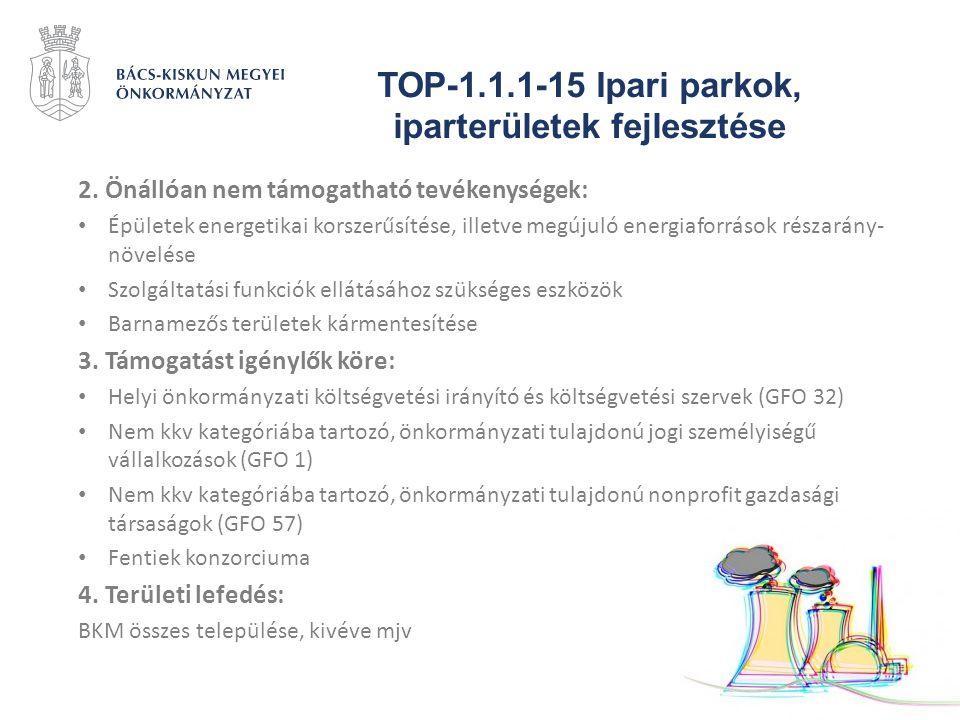 TOP-1.1.1-15 Ipari parkok, iparterületek fejlesztése 2. Önállóan nem támogatható tevékenységek: Épületek energetikai korszerűsítése, illetve megújuló