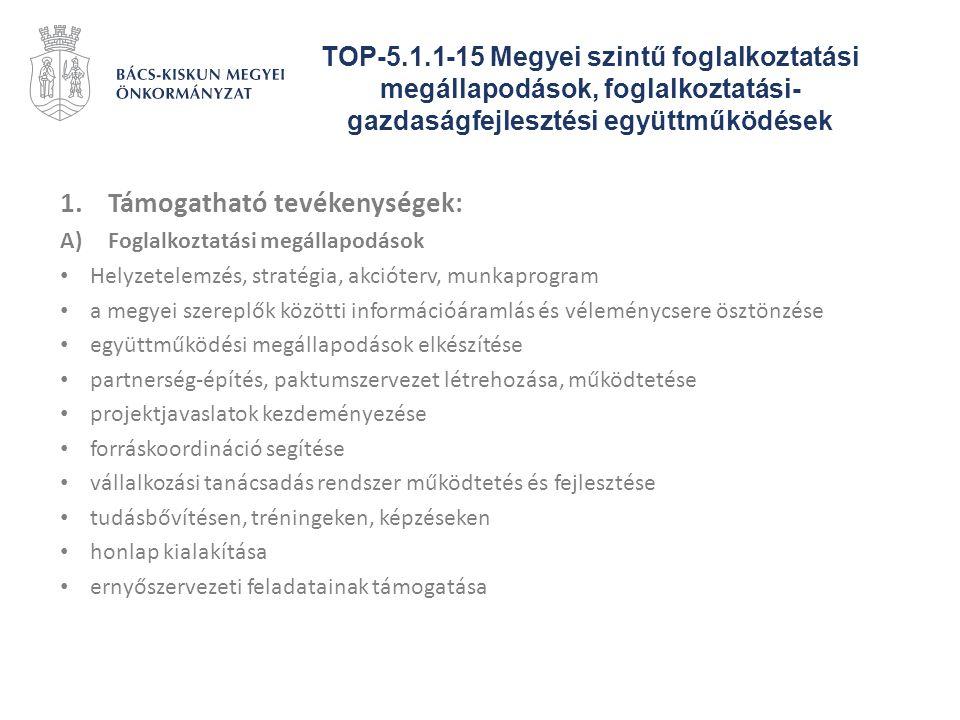 TOP-5.1.1-15 Megyei szintű foglalkoztatási megállapodások, foglalkoztatási- gazdaságfejlesztési együttműködések 1.Támogatható tevékenységek: A)Foglalk