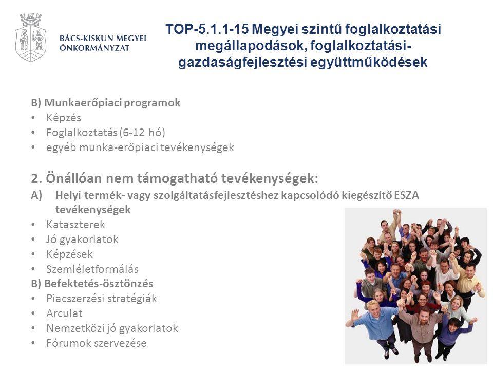 TOP-5.1.1-15 Megyei szintű foglalkoztatási megállapodások, foglalkoztatási- gazdaságfejlesztési együttműködések B) Munkaerőpiaci programok Képzés Fogl