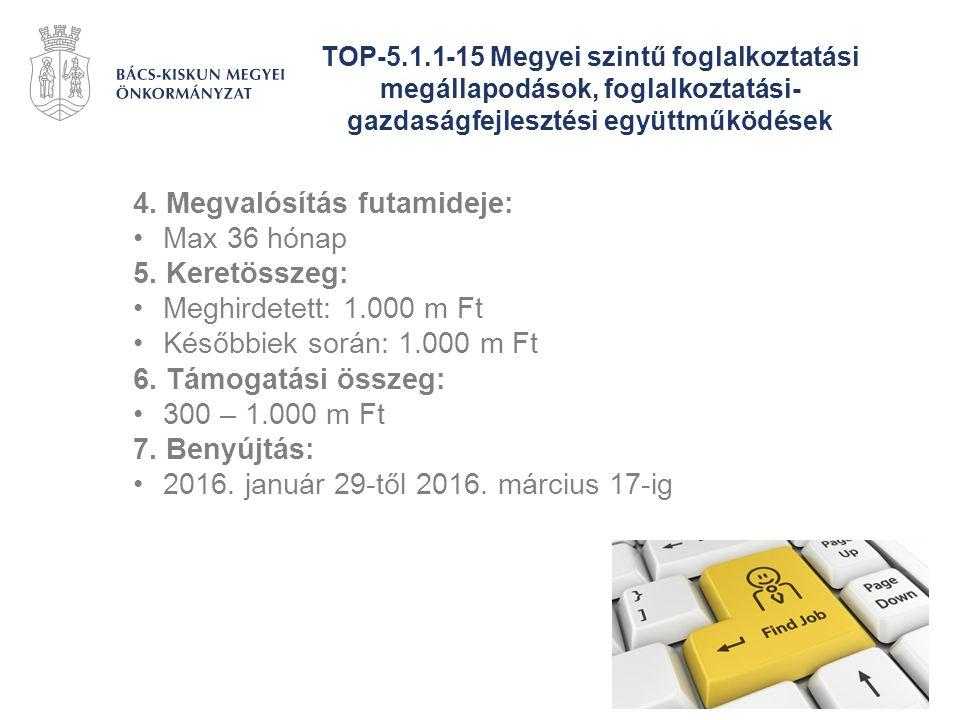 TOP-5.1.1-15 Megyei szintű foglalkoztatási megállapodások, foglalkoztatási- gazdaságfejlesztési együttműködések 4. Megvalósítás futamideje: Max 36 hón