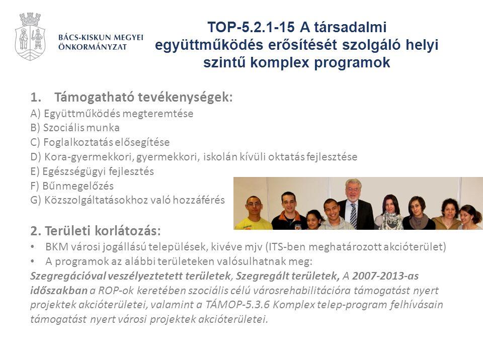 TOP-5.2.1-15 A társadalmi együttműködés erősítését szolgáló helyi szintű komplex programok 1.Támogatható tevékenységek: A) Együttműködés megteremtése