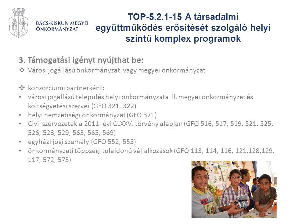 TOP-5.2.1-15 A társadalmi együttműködés erősítését szolgáló helyi szintű komplex programok 3. Támogatási igényt nyújthat be:  Városi jogállású önkorm