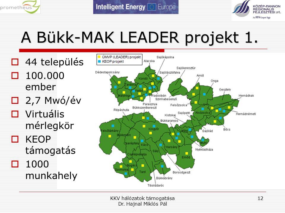 A Bükk-MAK LEADER projekt 1. KKV hálózatok támogatása Dr.