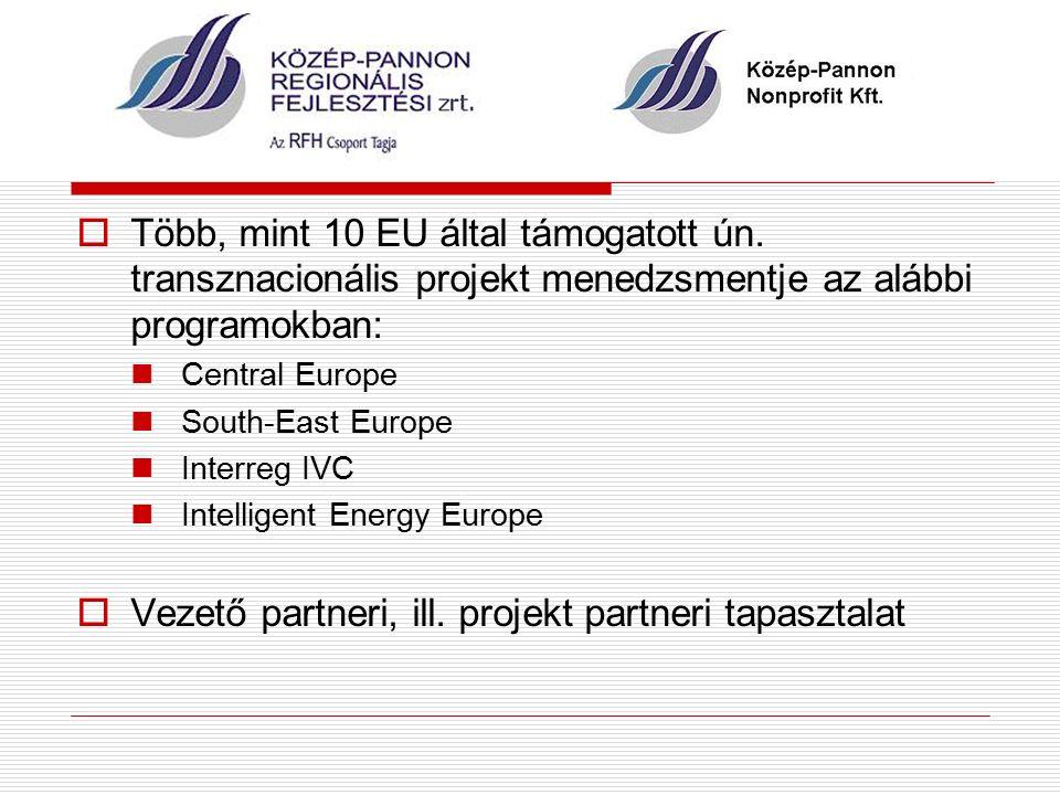  Több, mint 10 EU által támogatott ún.