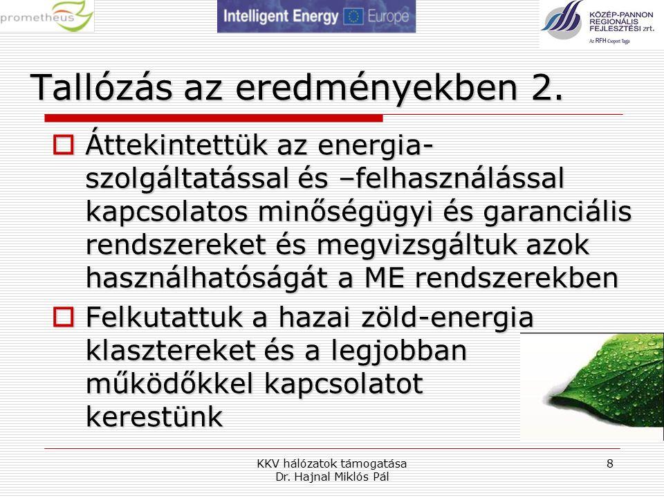 KKV hálózatok támogatása Dr. Hajnal Miklós Pál 8 Tallózás az eredményekben 2.