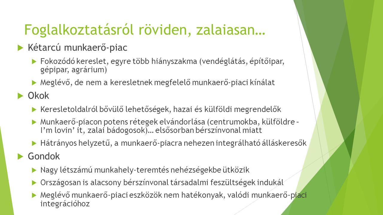 TOP Zala – közvetett foglalkoztatás  A tervezési időszakban 23 md Ft keretösszeggel gazdálkodik a megyei TOP, ennek kb.
