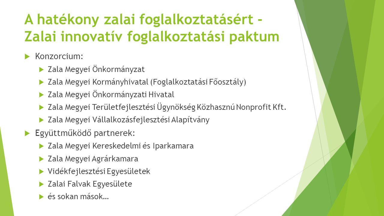 Célok, elvárt eredmények  A paktum közvetlen célja a Zala megyei ITP-ben meghatározottak alapján foglalkoztatási együttműködések képzési és foglalkoztatási programjainak támogatása, tevékenységi körük, eredményességük, hatékonyságuk növelése, a foglalkoztatás helyi szintű akciótervek megvalósításával való bővítése, az álláskeresők munkához juttatása programszerű és integrált, a megye egészére kiterjedő, valamennyi gazdasági ágazatot felölelő megyei szintű gazdaság - és foglalkoztatás-fejlesztési együttműködések összefogásával.