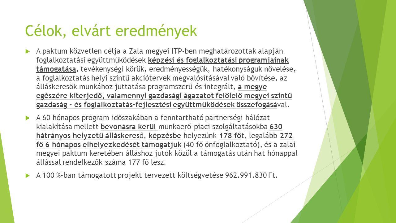 Célok, elvárt eredmények  A paktum közvetlen célja a Zala megyei ITP-ben meghatározottak alapján foglalkoztatási együttműködések képzési és foglalkoz
