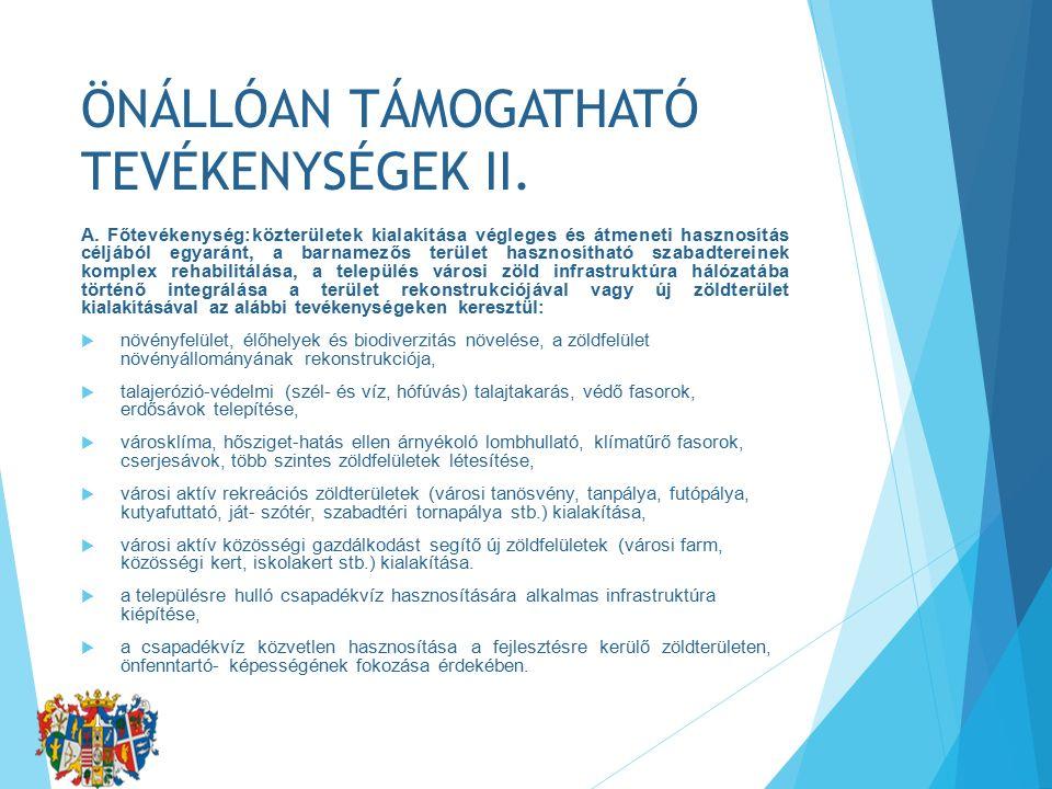 ÖNÁLLÓAN TÁMOGATHATÓ TEVÉKENYSÉGEK II. A.