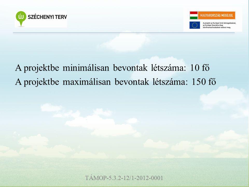 TÁMOP-5.3.2-12/1-2012-0001 A projektbe minimálisan bevontak létszáma: 10 fő A projektbe maximálisan bevontak létszáma: 150 fő