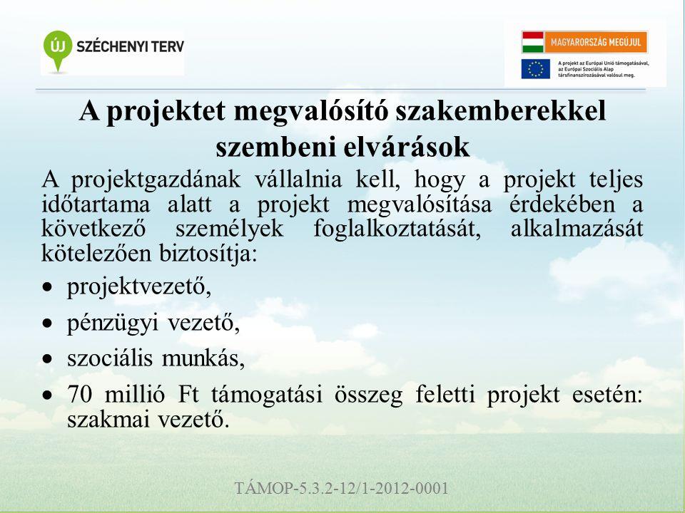 TÁMOP-5.3.2-12/1-2012-0001 A projektet megvalósító szakemberekkel szembeni elvárások A projektgazdának vállalnia kell, hogy a projekt teljes időtartama alatt a projekt megvalósítása érdekében a következő személyek foglalkoztatását, alkalmazását kötelezően biztosítja:  projektvezető,  pénzügyi vezető,  szociális munkás,  70 millió Ft támogatási összeg feletti projekt esetén: szakmai vezető.