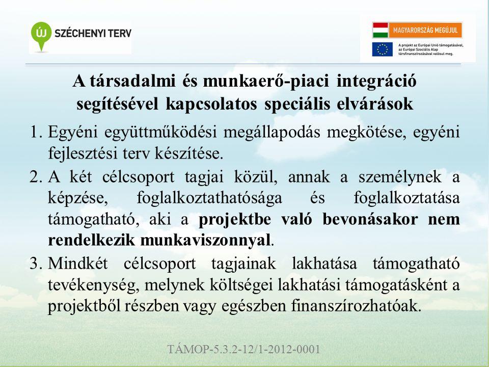 TÁMOP-5.3.2-12/1-2012-0001 A társadalmi és munkaerő-piaci integráció segítésével kapcsolatos speciális elvárások 1.Egyéni együttműködési megállapodás megkötése, egyéni fejlesztési terv készítése.