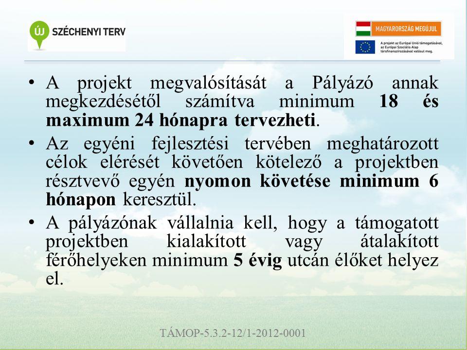 TÁMOP-5.3.2-12/1-2012-0001 A projekt megvalósítását a Pályázó annak megkezdésétől számítva minimum 18 és maximum 24 hónapra tervezheti.
