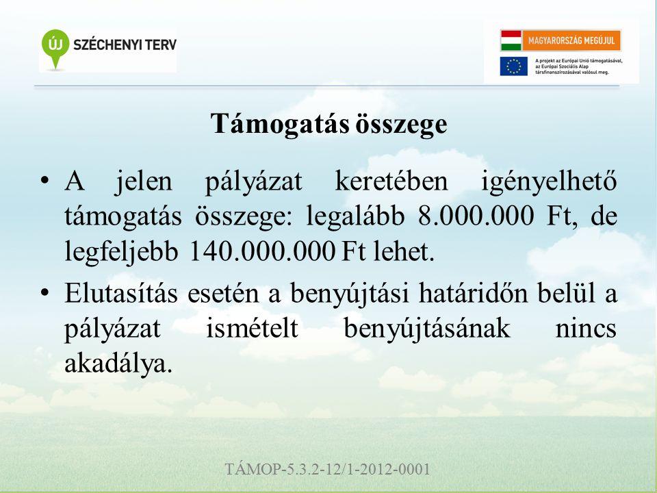 TÁMOP-5.3.2-12/1-2012-0001 Támogatás összege A jelen pályázat keretében igényelhető támogatás összege: legalább 8.000.000 Ft, de legfeljebb 140.000.000 Ft lehet.