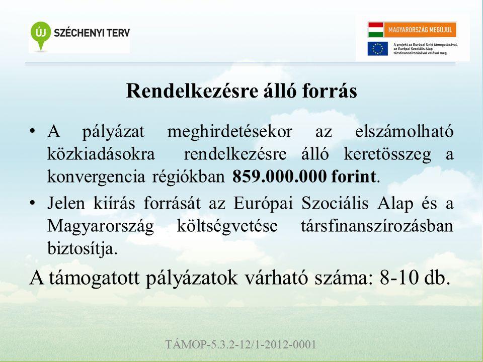 TÁMOP-5.3.2-12/1-2012-0001 Rendelkezésre álló forrás A pályázat meghirdetésekor az elszámolható közkiadásokra rendelkezésre álló keretösszeg a konvergencia régiókban 859.000.000 forint.