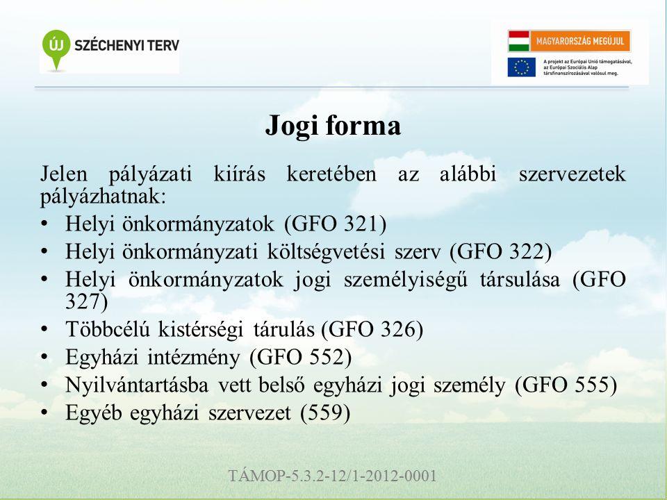 TÁMOP-5.3.2-12/1-2012-0001 Jogi forma Jelen pályázati kiírás keretében az alábbi szervezetek pályázhatnak: Helyi önkormányzatok (GFO 321) Helyi önkormányzati költségvetési szerv (GFO 322) Helyi önkormányzatok jogi személyiségű társulása (GFO 327) Többcélú kistérségi tárulás (GFO 326) Egyházi intézmény (GFO 552) Nyilvántartásba vett belső egyházi jogi személy (GFO 555) Egyéb egyházi szervezet (559)