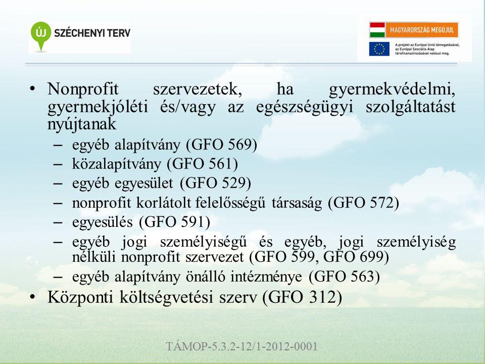 TÁMOP-5.3.2-12/1-2012-0001 Nonprofit szervezetek, ha gyermekvédelmi, gyermekjóléti és/vagy az egészségügyi szolgáltatást nyújtanak – egyéb alapítvány (GFO 569) – közalapítvány (GFO 561) – egyéb egyesület (GFO 529) – nonprofit korlátolt felelősségű társaság (GFO 572) – egyesülés (GFO 591) – egyéb jogi személyiségű és egyéb, jogi személyiség nélküli nonprofit szervezet (GFO 599, GFO 699) – egyéb alapítvány önálló intézménye (GFO 563) Központi költségvetési szerv (GFO 312)