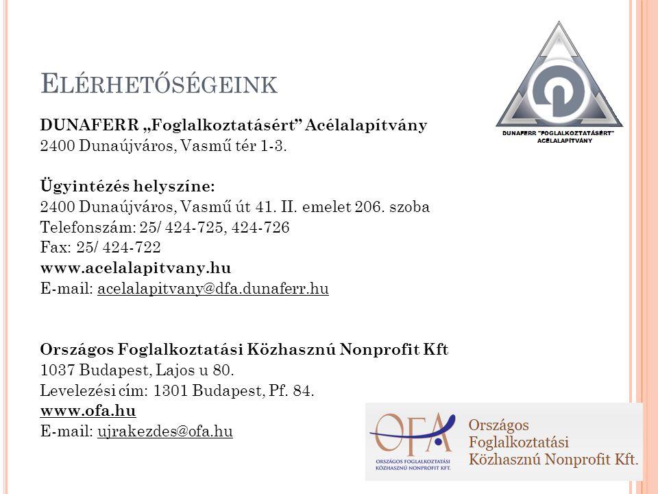 """E LÉRHETŐSÉGEINK DUNAFERR """"Foglalkoztatásért Acélalapítvány 2400 Dunaújváros, Vasmű tér 1-3."""