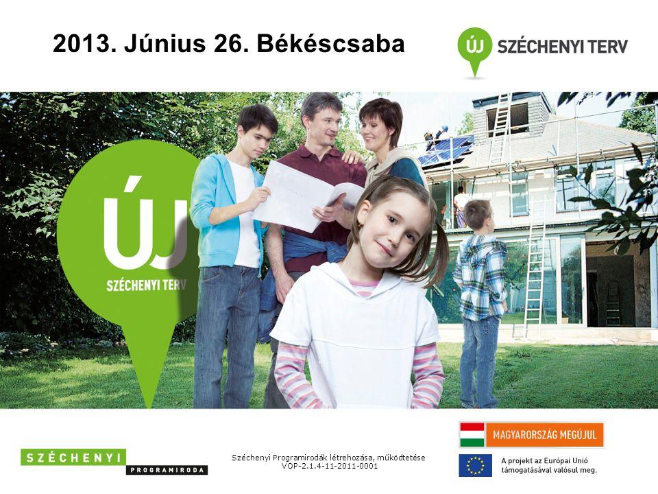 2013. Június 26. Békéscsaba Széchenyi Programirodák létrehozása, működtetése VOP-2.1.4-11-2011-0001