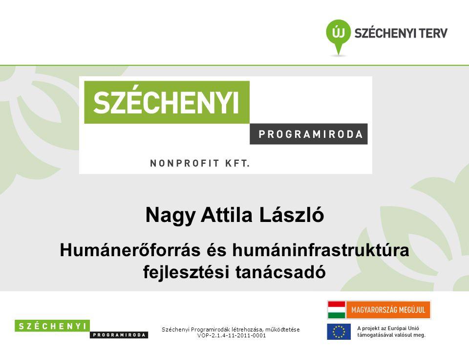 Széchenyi Programirodák létrehozása, működtetése VOP-2.1.4-11-2011-0001 Nagy Attila László Humánerőforrás és humáninfrastruktúra fejlesztési tanácsadó