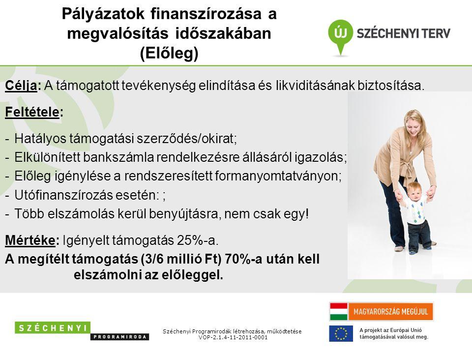 Pályázatok finanszírozása a megvalósítás időszakában (Előleg) Széchenyi Programirodák létrehozása, működtetése VOP-2.1.4-11-2011-0001 Célja: A támogatott tevékenység elindítása és likviditásának biztosítása.