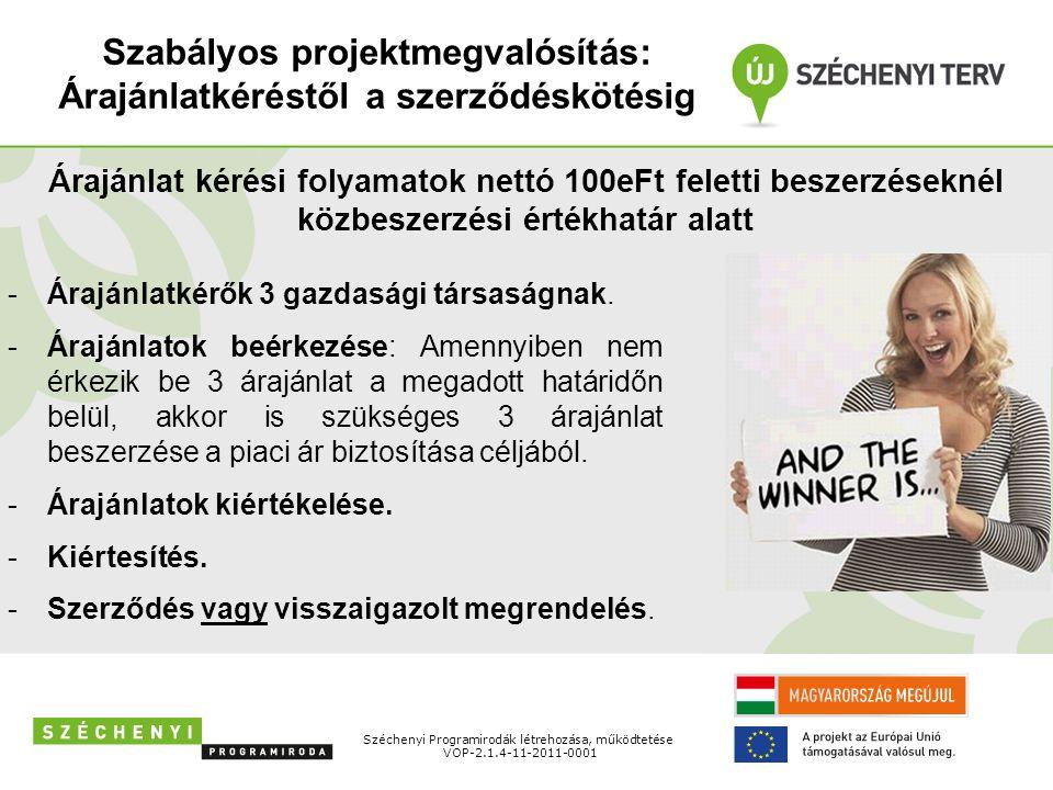 Szabályos projektmegvalósítás: Árajánlatkéréstől a szerződéskötésig Széchenyi Programirodák létrehozása, működtetése VOP-2.1.4-11-2011-0001 Árajánlat kérési folyamatok nettó 100eFt feletti beszerzéseknél közbeszerzési értékhatár alatt -Árajánlatkérők 3 gazdasági társaságnak.