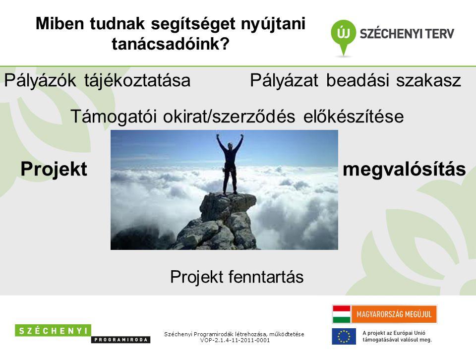 Széchenyi Programirodák létrehozása, működtetése VOP-2.1.4-11-2011-0001 Pályázók tájékoztatása Pályázat beadási szakasz Támogatói okirat/szerződés előkészítése Projekt megvalósítás Projekt fenntartás Miben tudnak segítséget nyújtani tanácsadóink