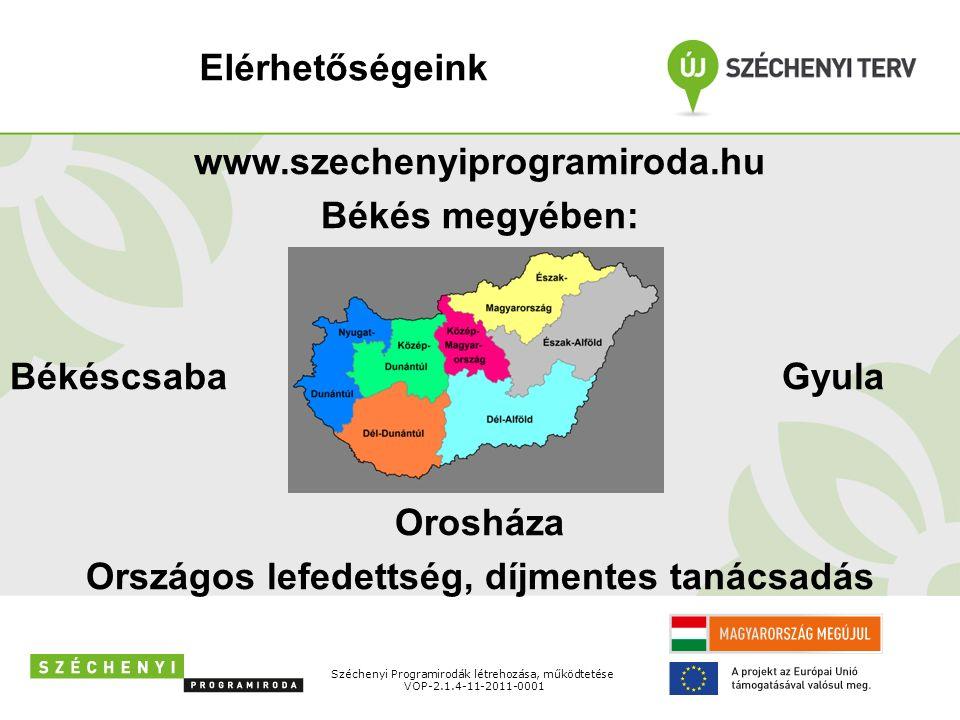 Széchenyi Programirodák létrehozása, működtetése VOP-2.1.4-11-2011-0001 www.szechenyiprogramiroda.hu Békés megyében: BékéscsabaGyula Orosháza Országos lefedettség, díjmentes tanácsadás Elérhetőségeink
