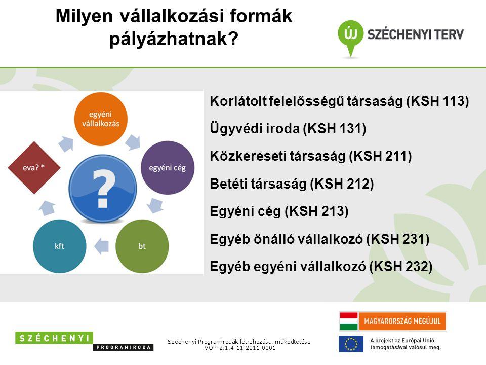 További feltételek Széchenyi Programirodák létrehozása, működtetése VOP-2.1.4-11-2011-0001 18-35 (40 életév) év közötti természetes személy által létrehozott vállalkozás.