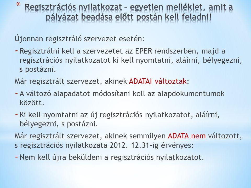 Újonnan regisztráló szervezet esetén: - Regisztrálni kell a szervezetet az EPER rendszerben, majd a regisztrációs nyilatkozatot ki kell nyomtatni, aláírni, bélyegezni, s postázni.