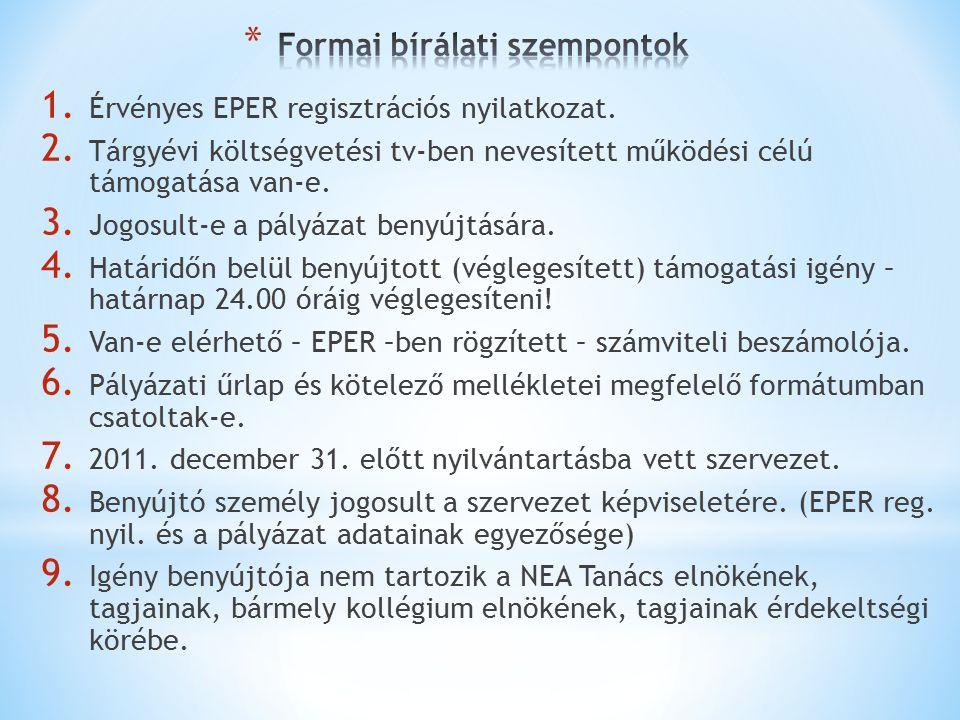 1. Érvényes EPER regisztrációs nyilatkozat. 2.