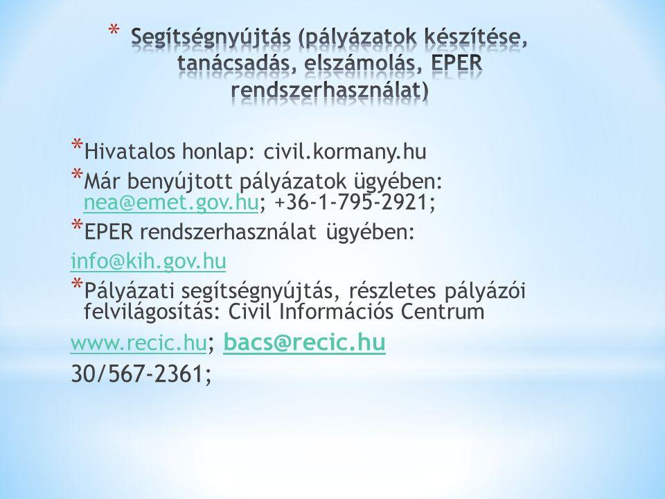 * Hivatalos honlap: civil.kormany.hu * Már benyújtott pályázatok ügyében: nea@emet.gov.hu; +36-1-795-2921; nea@emet.gov.hu * EPER rendszerhasználat ügyében: info@kih.gov.hu * Pályázati segítségnyújtás, részletes pályázói felvilágosítás: Civil Információs Centrum www.recic.hu www.recic.hu ; bacs@recic.hubacs@recic.hu 30/567-2361;