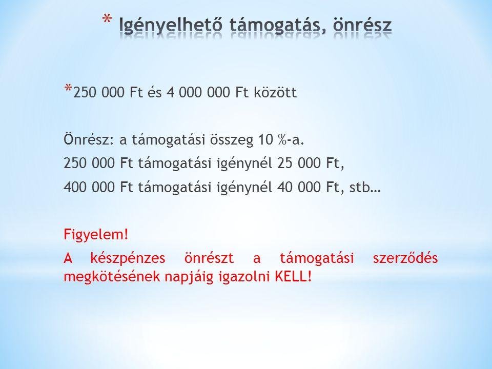 * 250 000 Ft és 4 000 000 Ft között Önrész: a támogatási összeg 10 %-a.