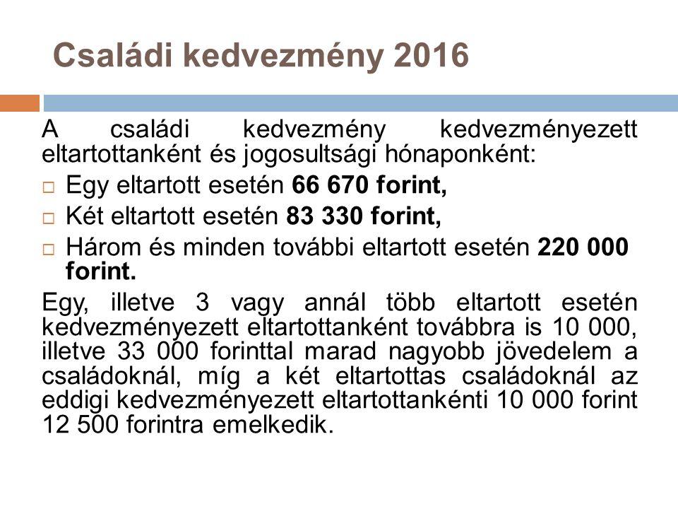 Családi kedvezmény 2017-től a két eltartottról gondoskodóknál 2017-től tovább emelkedik a két eltartott után járó, kedvezményezett eltartottankénti és jogosultsági hónaponként érvényesíthető családi kedvezmény:  2017-ben 100 000 forintra (adóban 15 000 forintra)  2018-ban 116 670 forintra (adóban 17 500 forintra)  2019-től 133 330 forintra (adóban 20 000 forintra) emelkedik a két eltartottas családok kedvezménye.