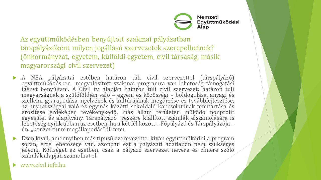 Az együttműködésben benyújtott szakmai pályázatban társpályázóként milyen jogállású szervezetek szerepelhetnek.