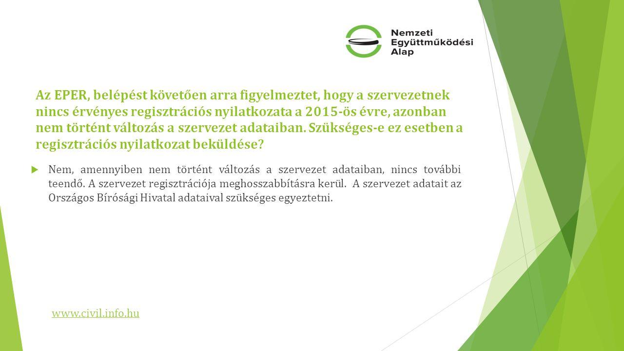 Az EPER, belépést követően arra figyelmeztet, hogy a szervezetnek nincs érvényes regisztrációs nyilatkozata a 2015-ös évre, azonban nem történt változás a szervezet adataiban.