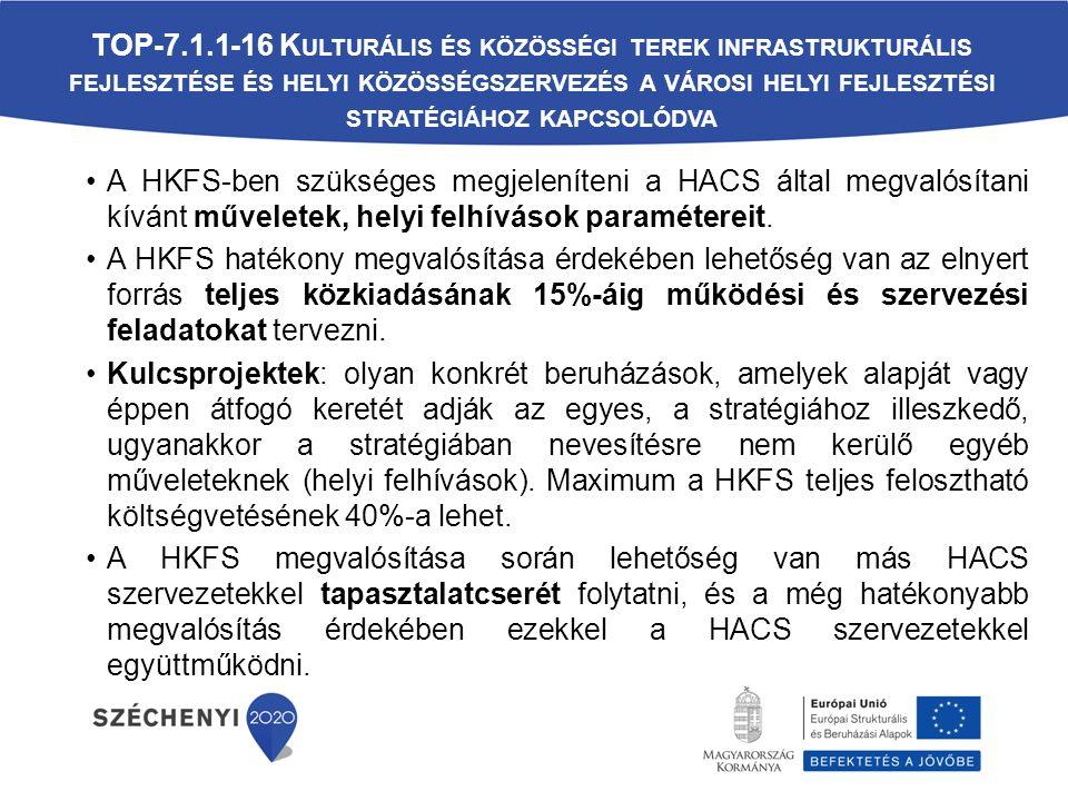 A HKFS-ben szükséges megjeleníteni a HACS által megvalósítani kívánt műveletek, helyi felhívások paramétereit.
