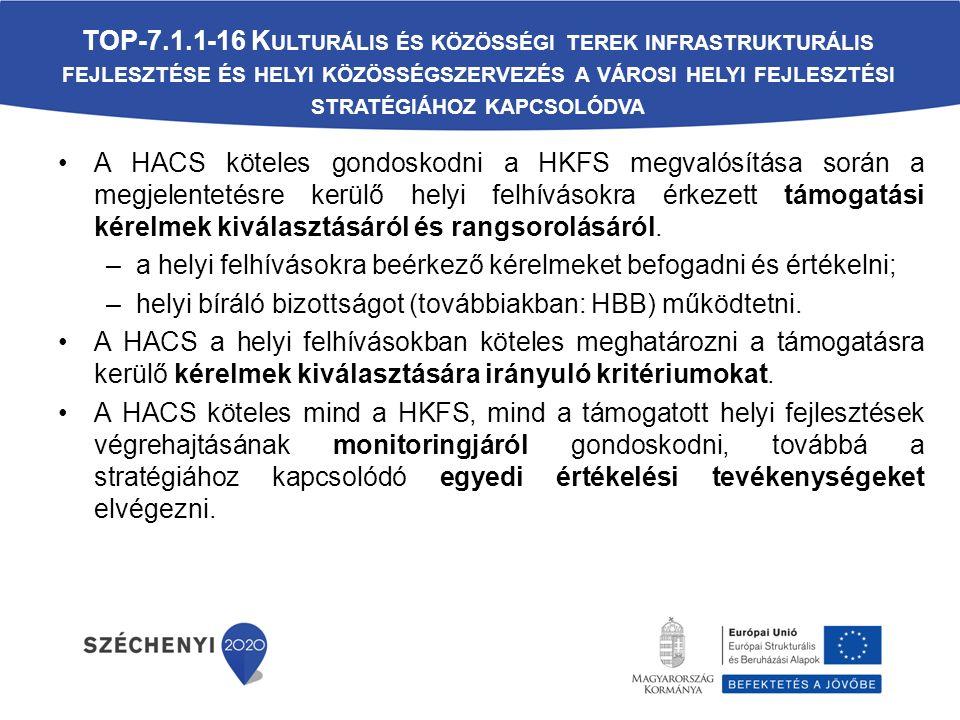 A HACS köteles gondoskodni a HKFS megvalósítása során a megjelentetésre kerülő helyi felhívásokra érkezett támogatási kérelmek kiválasztásáról és rangsorolásáról.