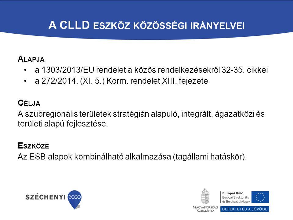 A CLLD ESZKÖZ KÖZÖSSÉGI IRÁNYELVEI A LAPJA a 1303/2013/EU rendelet a közös rendelkezésekről 32-35.