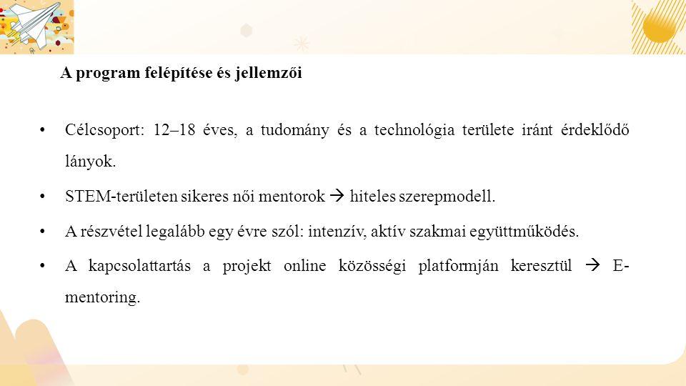 A program felépítése és jellemzői Célcsoport: 12–18 éves, a tudomány és a technológia területe iránt érdeklődő lányok.
