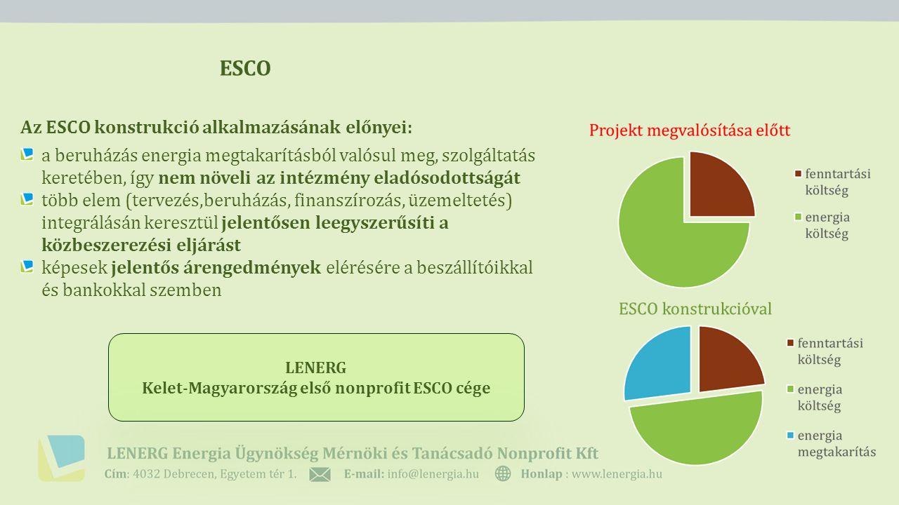 ESCO Az ESCO konstrukció alkalmazásának előnyei: a beruházás energia megtakarításból valósul meg, szolgáltatás keretében, így nem növeli az intézmény