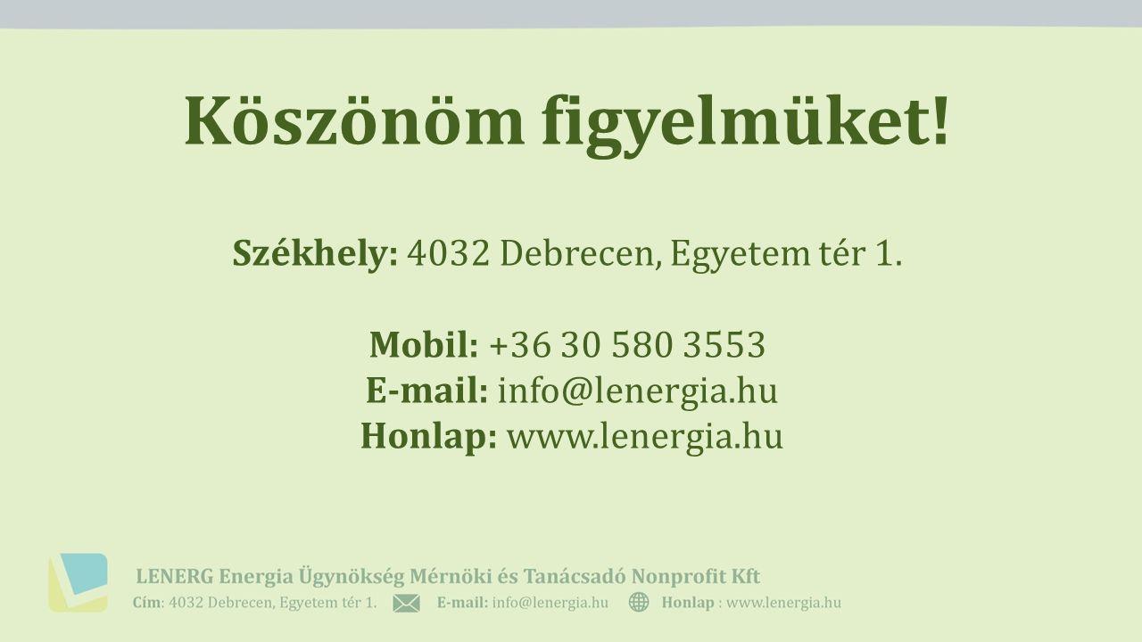 Köszönöm figyelmüket! Székhely: 4032 Debrecen, Egyetem tér 1. Mobil: +36 30 580 3553 E-mail: info@lenergia.hu Honlap: www.lenergia.hu