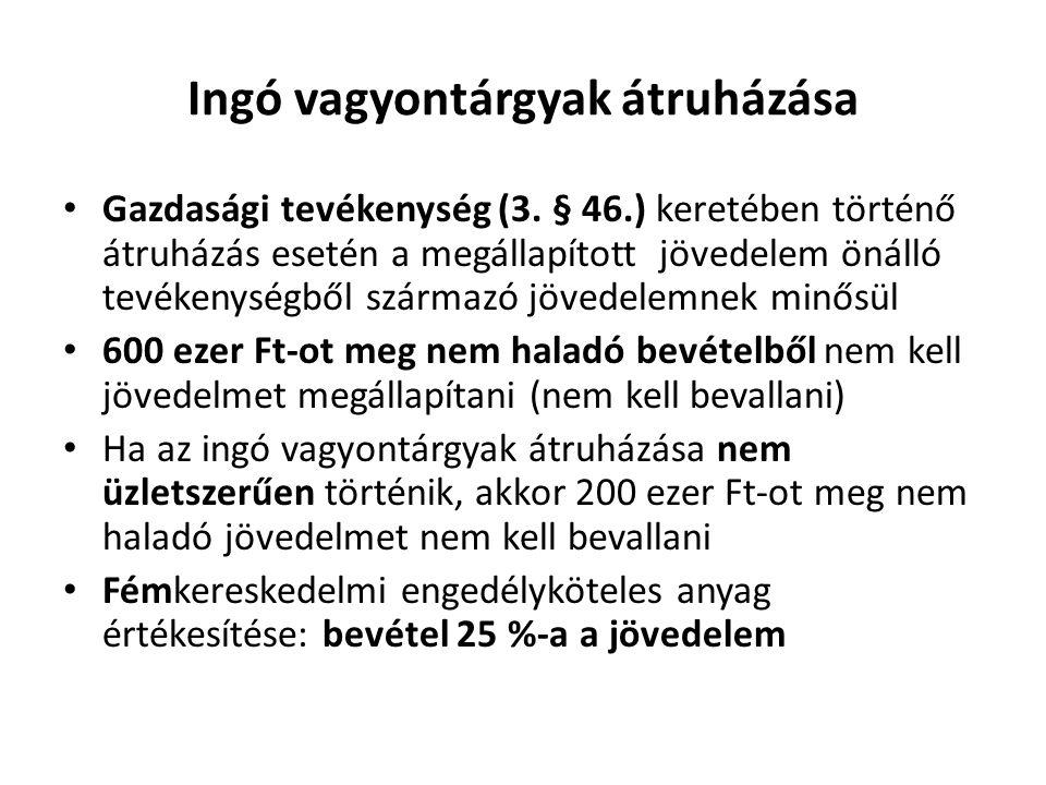 Ingó vagyontárgyak átruházása Gazdasági tevékenység (3.